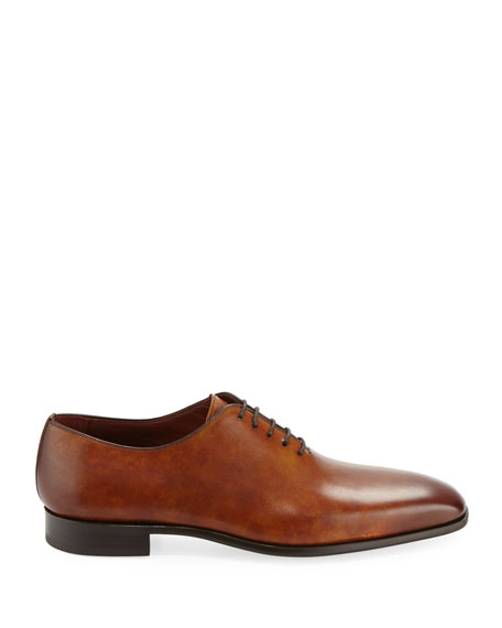 Magnanni for Neiman Marcus Men's One-Piece Leather Lace-Up Dress Shoe