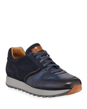 f5ef550f4fc Magnanni for Neiman Marcus Men s Leather   Suede Sneakers