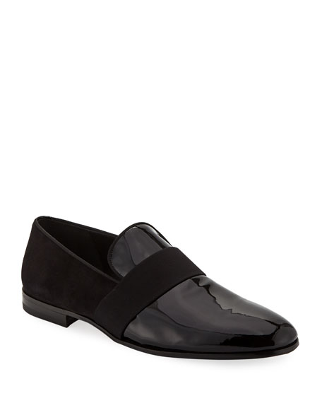 Salvatore Ferragamo Men's Bryden Patent Leather & Suede Slip-On Dress Loafer Shoe