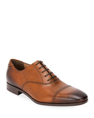 528bc288ec66 Salvatore Ferragamo Men s Boston Leather Lace-Up Dress Oxford
