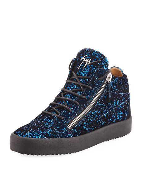 Men's Glitter Velvet Mid-Top Sneakers