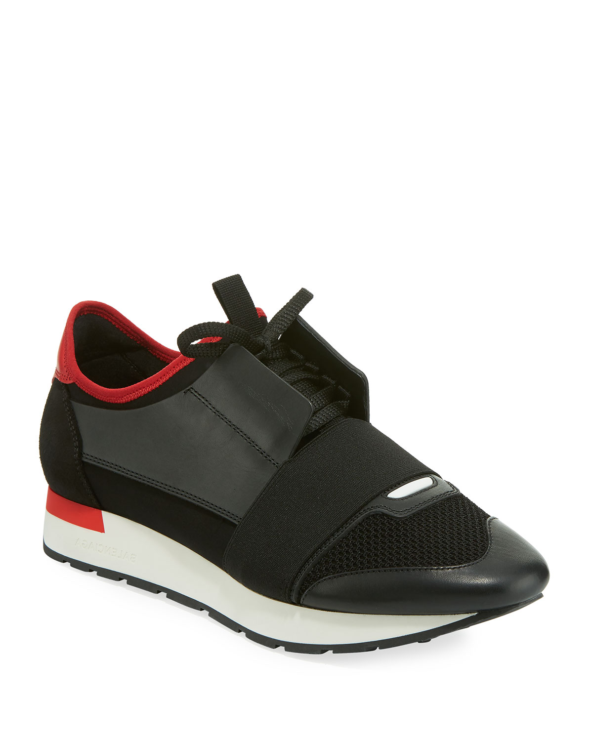 55ad0d9957542 Balenciaga Men's Race Runner Mesh & Leather Sneakers, Black/Red ...