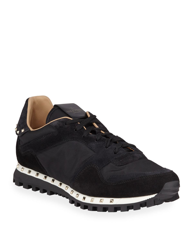 Valentino Garavani Men S Suede Trim Rockstud Sneakers Neiman Marcus