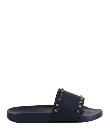 Valentino Garavani Men's Rockstud Vinyl Pool Slide Sandals