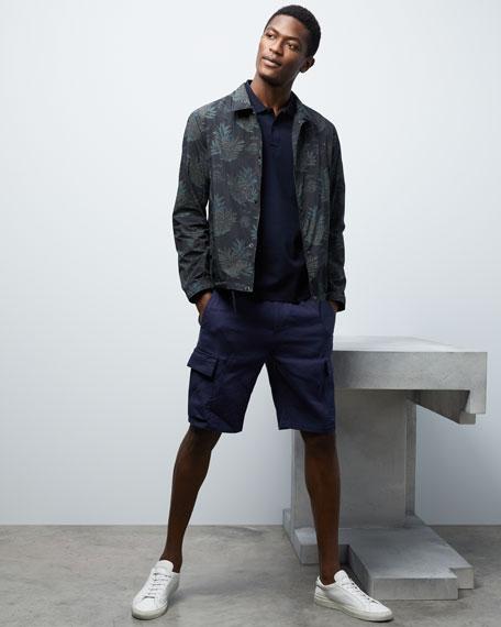 Men's Drawstring Linen-Blend Cargo Shorts