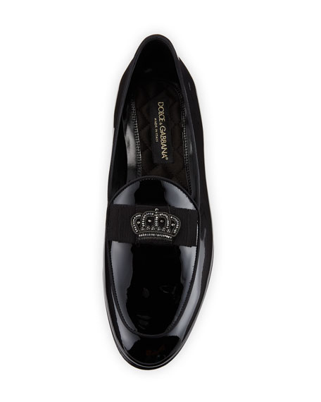 Men's Patent Leather Crown-Applique Loafer