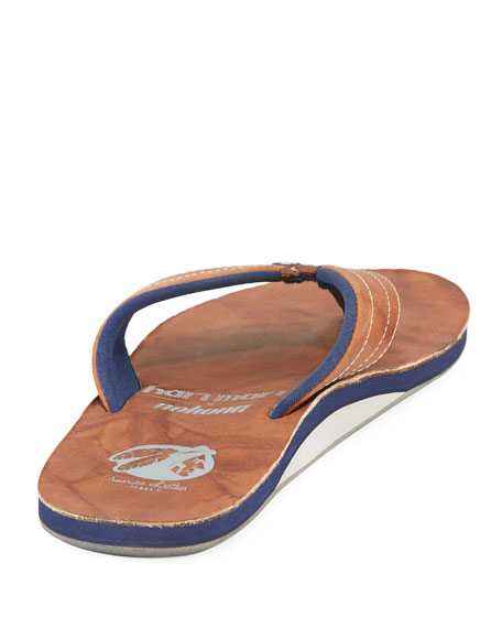 x Nokona Men's Leather Thong Sandals, Walnut