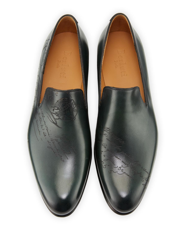 e8cd933ece Berluti Men's Cambridge Scritto Leather Slip-On Dress Shoes | Neiman Marcus