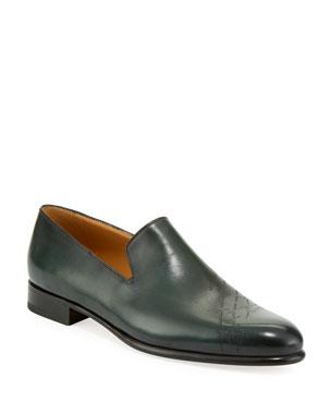 d420497df633 Berluti Men's Cambridge Scritto Leather Slip-On Dress Shoes