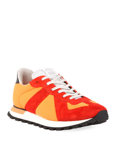 Image 1 of 3: Men's Replica Nylon & Suede Sneakers, Orange
