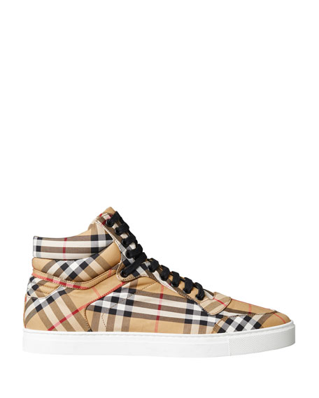 Image 2 of 5: Men's Reeth Signature Check Canvas High-Top Sneakers