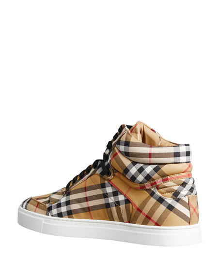 Image 3 of 5: Men's Reeth Signature Check Canvas High-Top Sneakers