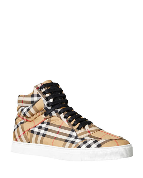 Image 1 of 5: Men's Reeth Signature Check Canvas High-Top Sneakers