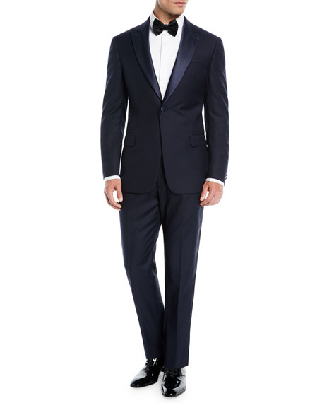 Emporio Armani Two-Piece Wool Tuxedo with Satin Peak Lapel, Navy