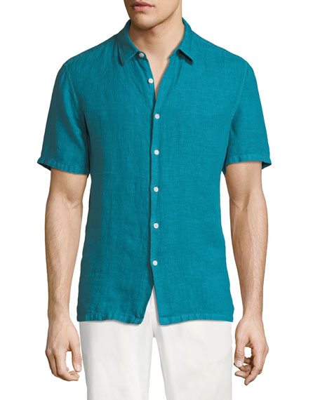 Image 1 of 3: Men's Irving Summer Linen Short-Sleeve Sport Shirt