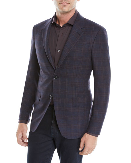 Ermenegildo Zegna Men's Two-Button Plaid Jacket