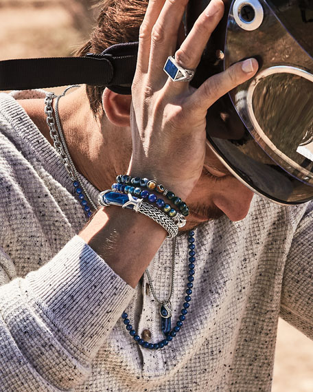John Hardy Men's Classic Chain Silver Sodalite Bracelet