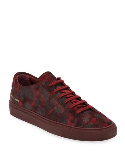Men's Achilles Camo Suede Low-Top Sneakers  Red