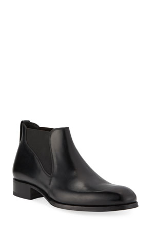 TOM FORD Men's Edgar Low Leather Chelsea Boots