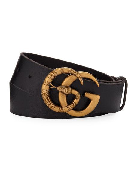 Gucci Men's Cuoio Toscano Snake GG Belt