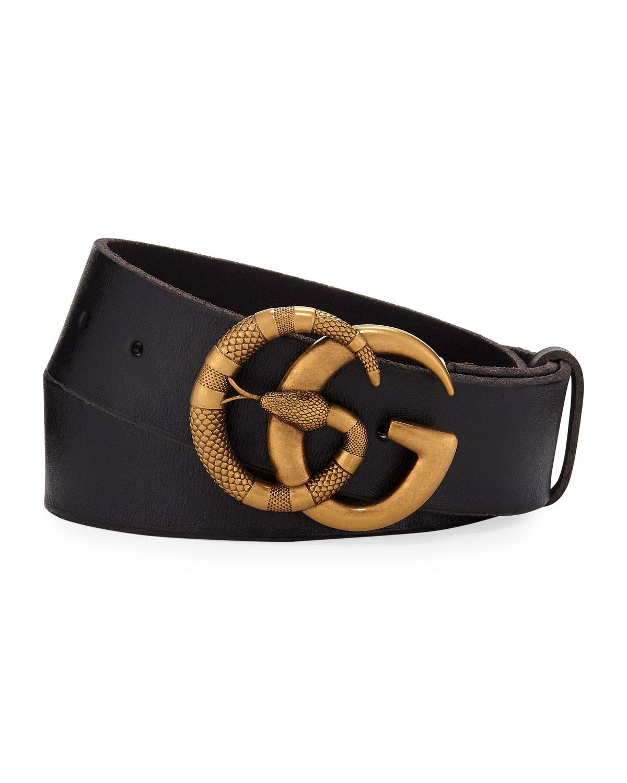 Gucci Men's Cuoio Toscano Snake GG Belt | Neiman Marcus