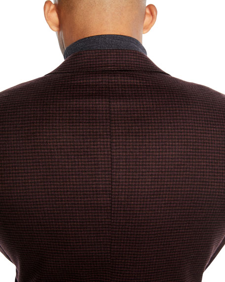 Image 4 of 4: Canali Men's Two-Button Check Super 170s Wool Travel Blazer