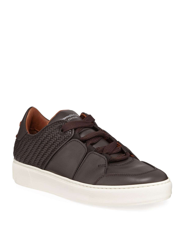 64d6be36bd72 Ermenegildo Zegna Men s Tiziano Leather Low-Top Sneakers