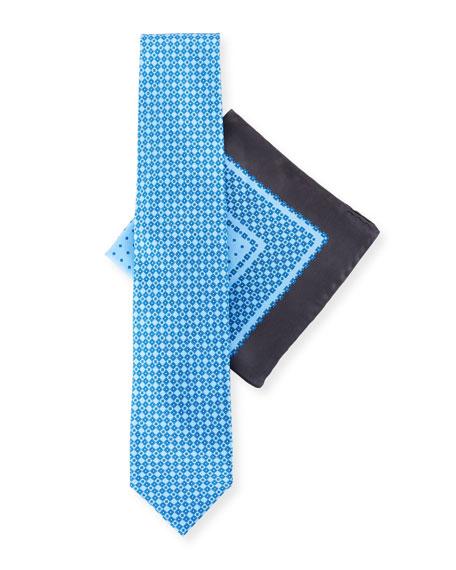 Stefano Ricci Medium-Check Tie & Pocket Square Set