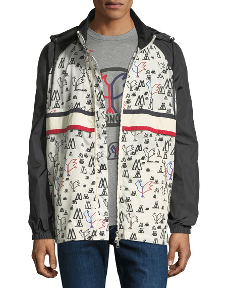 Moncler Men's Moncler Genius Allos Printed Zip-Front Jacket