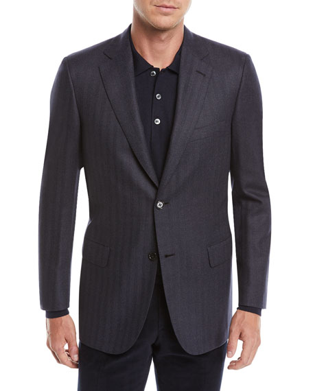 Image 1 of 4: Men's Striped Herringbone Two-Button Jacket