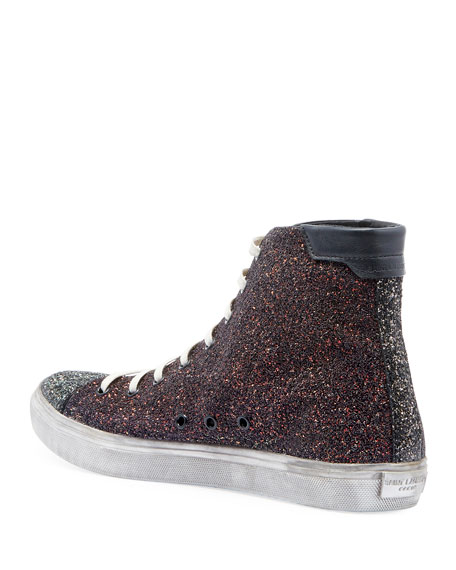 Saint Laurent Men's Bedford Solid Glitter High-Top Sneakers