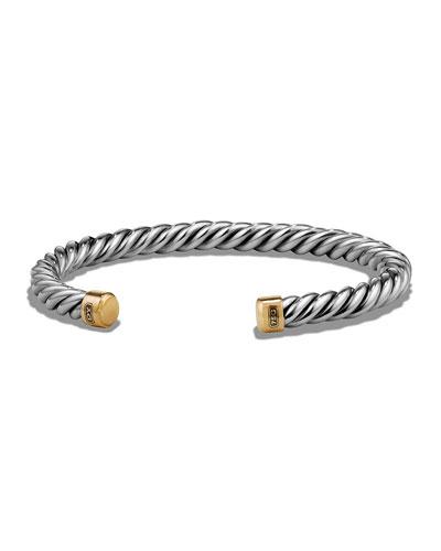 Men's Cable Cuff Bracelet w/ 18k Gold