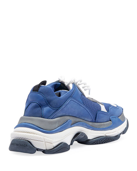Men's Triple S Mesh & Leather Sneakers, Blue/Gray