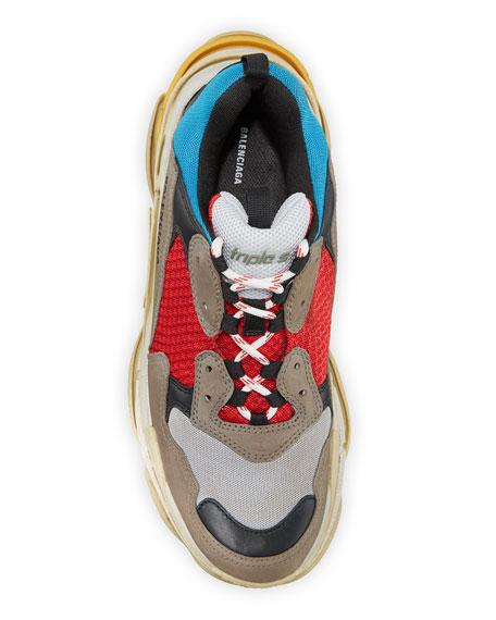 Men's Triple S Mesh & Leather Sneakers, Blue
