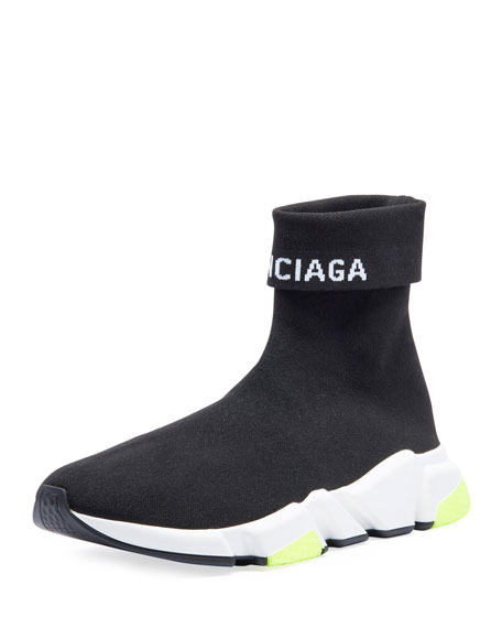 Balenciaga Men's Speed High-Top Stretch-Knit Sock Sneakers
