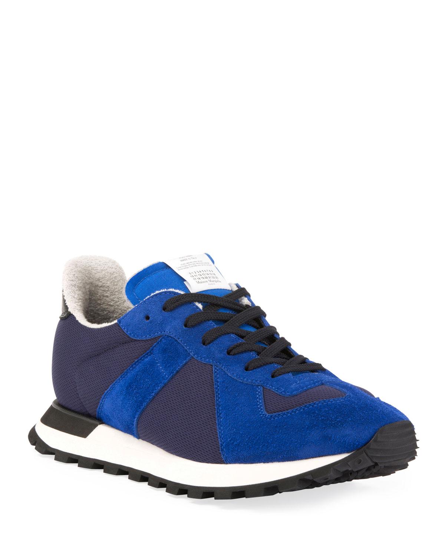 5437c4ff18b Men's Replica Nylon & Suede Runner Sneakers, Blue
