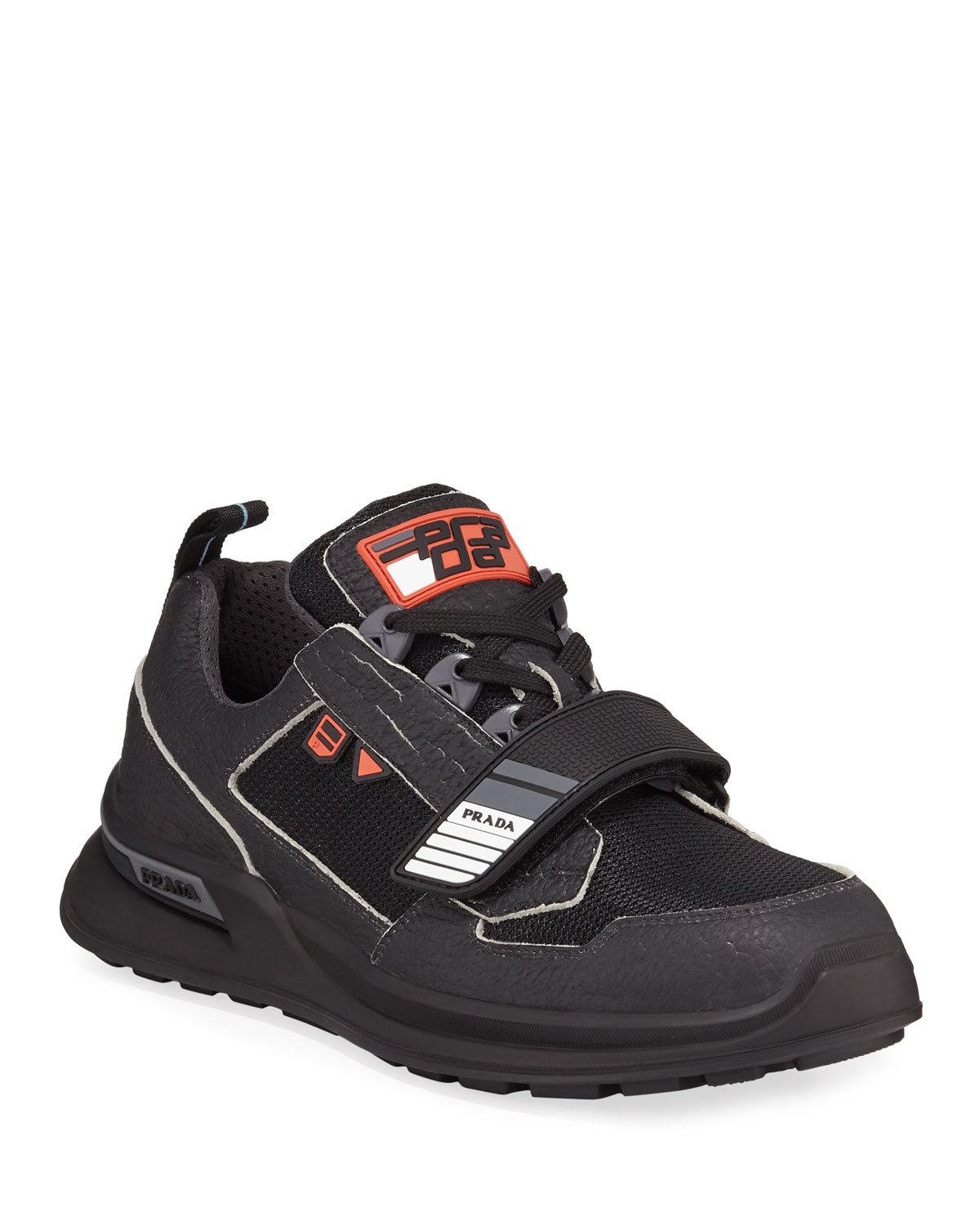6ed28eff384d5 Prada Men's Vitello Sport Sneakers with Grip-Strap Detail | Neiman ...
