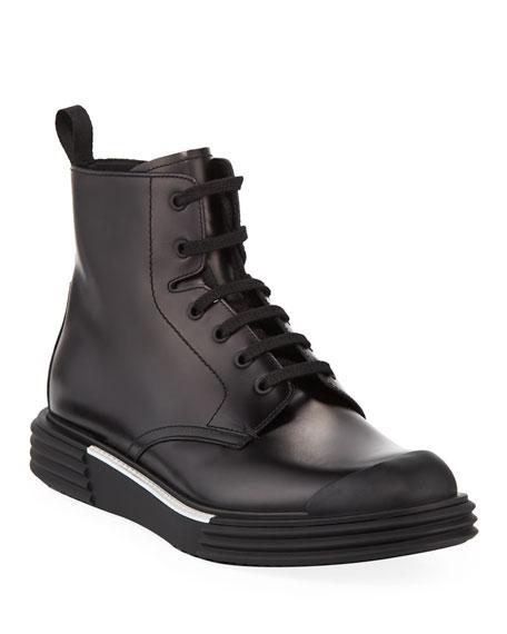 Prada Men's Lace-Up Sneaker Boots