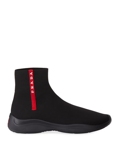 Prada Men's Sock-Boot Sneakers