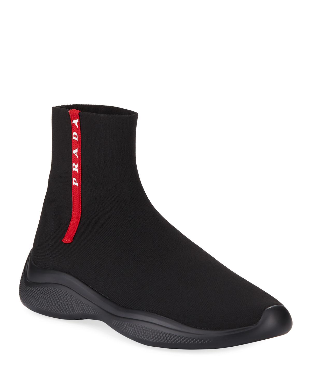 Prada Men's Sock-Boot Sneakers | Neiman