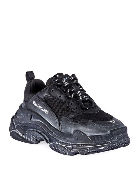 Triple S Men's Tonal Mesh & Leather Sneakers, All Black