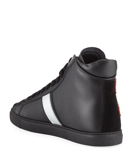 Dsquared2 Men's Leather High-Top Sneakers w/ Maple Leaf Patches