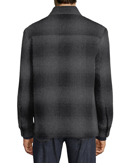 Brioni Men's Plaid Wool-Blend Overshirt