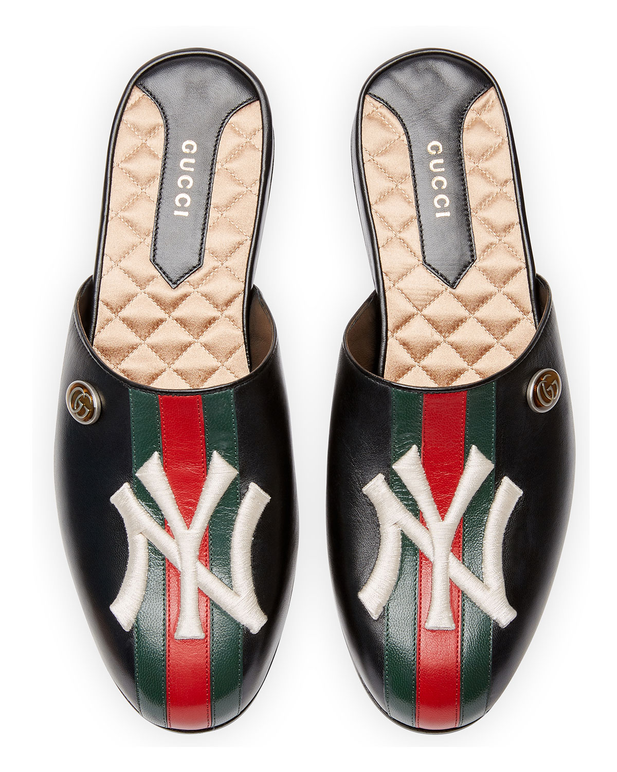 Gucci Leather Slipper with NY Yankees