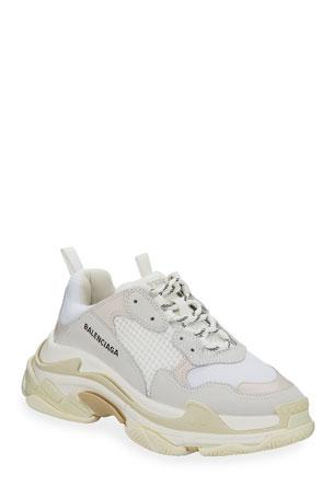 Balenciaga Men's Triple S Mesh & Leather Sneakers, White