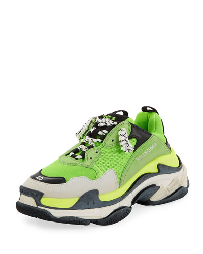 Men's Triple S Mesh & Leather Sneakers, Green