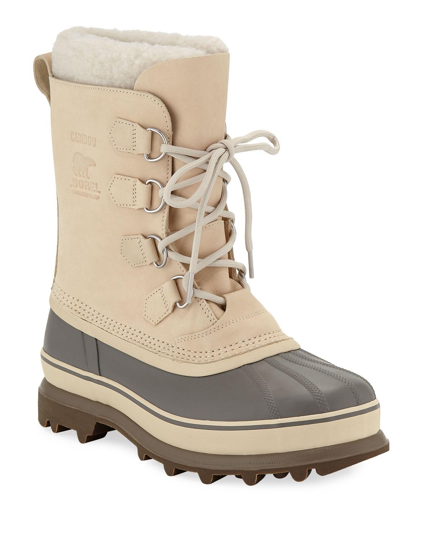 0635a3ff30 SorelMen s Caribou Faux Sherpa-Lined All Weather Waterproof Duck Boots