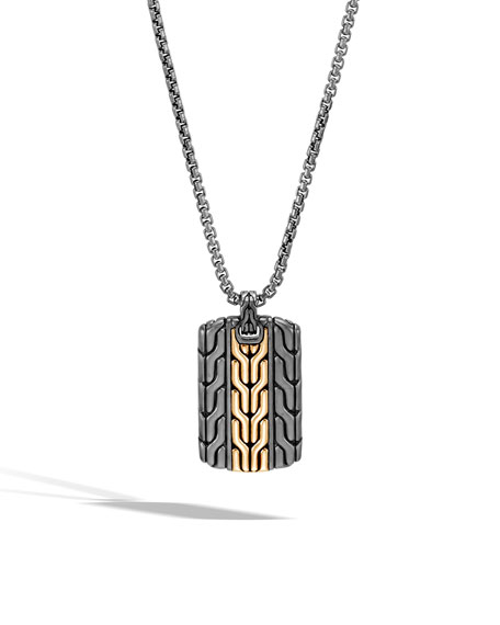 Image 1 of 3: John Hardy Men's Classic Chain Dog Tag Necklace with Rhodium & 18k Gold, 26""