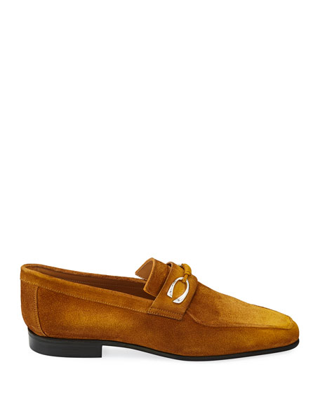Image 2 of 3: Corthay Men's Cannes Suede Loafers with Bit Detail