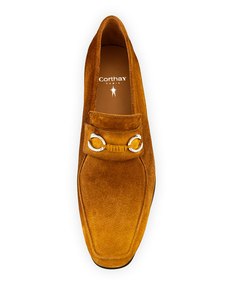 Image 3 of 3: Corthay Men's Cannes Suede Loafers with Bit Detail